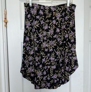 Floral high low medi button up skirt